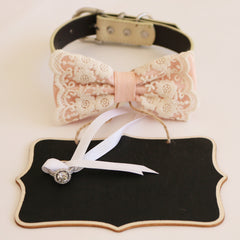 Handmade Pearl blush bow tie collar and Small Chalkboards Signs, Proposal, Bridal Sign, Dog Ring Bearer, Marry me, M to XXL collar