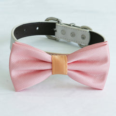 Blush peach bow tie collar dog of honor dog ring bearer XS to XXL leather collar bow adjustable Puppy bow tie handmade lilac black collar