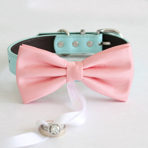 Blush bow tie collar Leather collar dog of honor ring bearer adjustable handmade XS to XXL collar and bow, Puppy bow collar , Wedding dog collar
