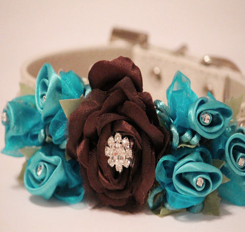 Brown Blue Wedding Dog Collar, Wedding Dog Accessory, floral beach wedding , Wedding dog collar