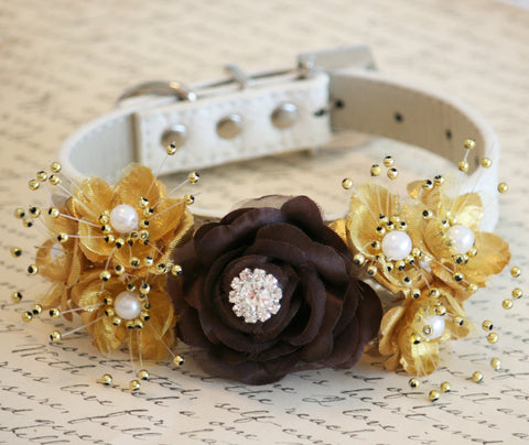 Gold and Brown Floral Dog Collar, Pet wedding accessory , Wedding dog collar