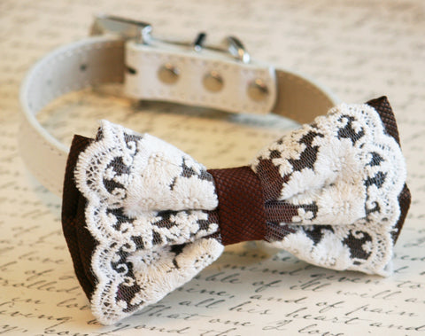 Brown Dog Bow Tie, Country rustic wedding, Pet wedding accessory, Wedding accessory, Victorian wedding, Dog Lovers