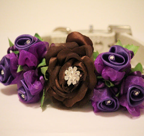 Brown Purple Wedding Dog Collar, Floral Wedding Dog Accessory