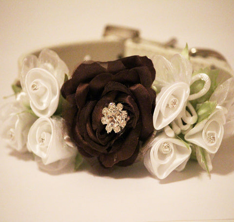 Brown White Floral Dog Collar, Pet Wedding Accessory, Dog Lovers