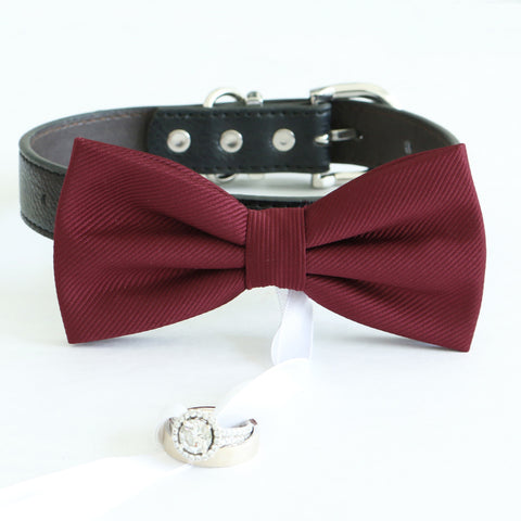 Burgundy bow tie collar Leather collar dog of honor ring bearer adjustable handmade XS to XXL collar and bow, Puppy bow collar, Proposal , Wedding dog collar