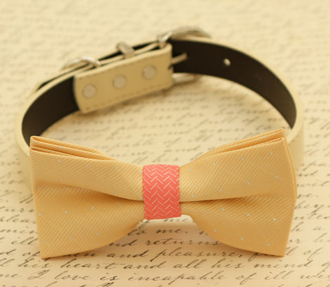 Champagne and coral dog Bow tie collar, Pet wedding accessory , Wedding dog collar