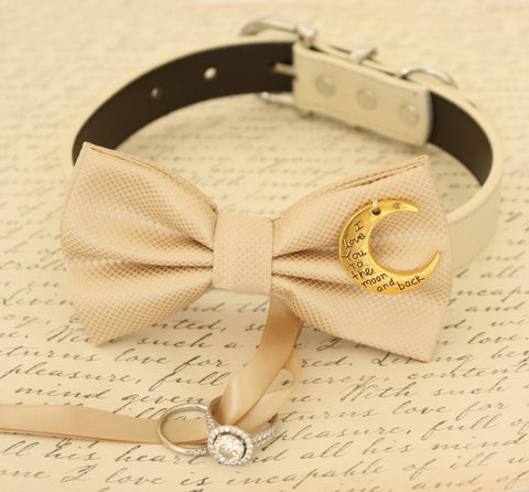Champagne Dog Bow Tie attached to collar, Dog ring bearer, Proposal