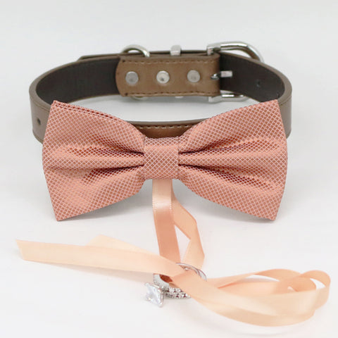 Copper bow tie collar Leather collar dog of honor ring bearer adjustable handmade XS to XXL collar bow, Puppy, Proposal, Copper  collar