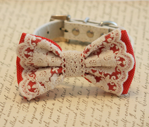 Coral wedding dog collar, Coral Lace Dog Bow Tie, Pet wedding , Wedding dog collar