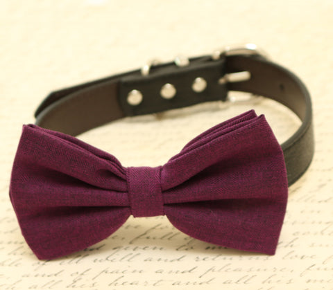 Eggplant dog bow tie attached to collar, Eggplant wedding, dog birthday gift