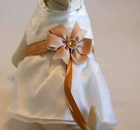 Gold and White Dog dress, Dog ring bearer, Gold Wedding accessory