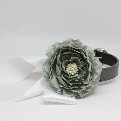 Gray Floral Dog Collar, Pet Wedding Color, Flower and Rhinestone, Handmade dog collar