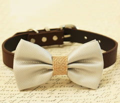 Gray Dog Bow Tie, Burlap bow tie, Bow tie attached to brown Leather collar, Country Rustic wedding, Burlap wedding, pet wedding accessory - LA Dog Store  - 1