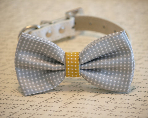 Gray Polka dots dog bow tie collar, Pet country Rustic wedding, Chic, Unique gift