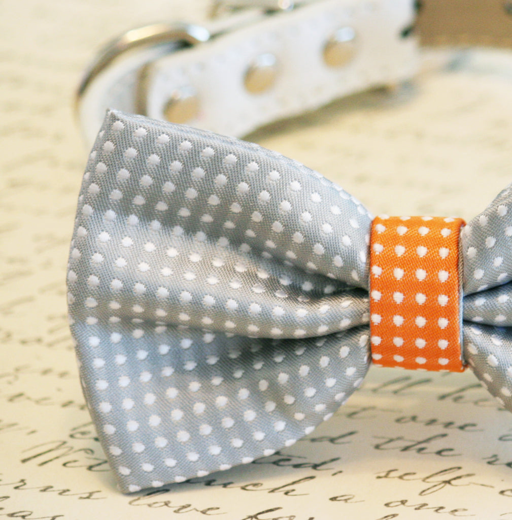 Gray And Orange Dog Bow TieGray Polka Dots Pet Accessory Birthday Gift