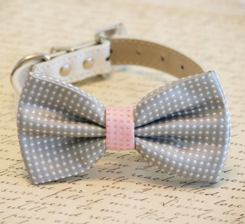 Gray and pink Dog Bow Tie, Polka dots, Pet Accessory, Birthday Gift, Dog Lovers