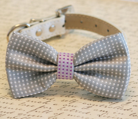 Gray Polka dots dog bow tie, Gray and purple Bow Pet wedding Accessory , Wedding dog collar