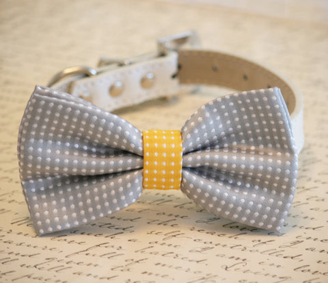 Gray and Yellow Dog Bow Tie Polka dots, Birthday Gift, Dog Lovers, Pet wedding