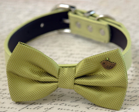 Green dog bow tie collar-Birds Charm, Greenery wedding pet collar , Wedding dog collar