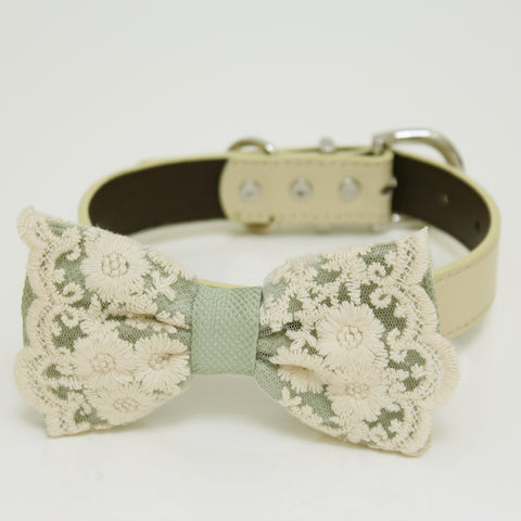 Sage green Bow tie collar, Sage green lace Bow tie attach to Ivory, brown, Copper, Champagne, gray or white leather collar, handmade wedding