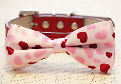 Heart Dog Bow tie collar, Wedding gift, pink red