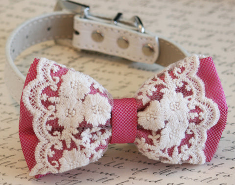 Hot Pink Dog Lace Bow Tie collar, Wedding accessory, Dog Birthday gift, Victorian