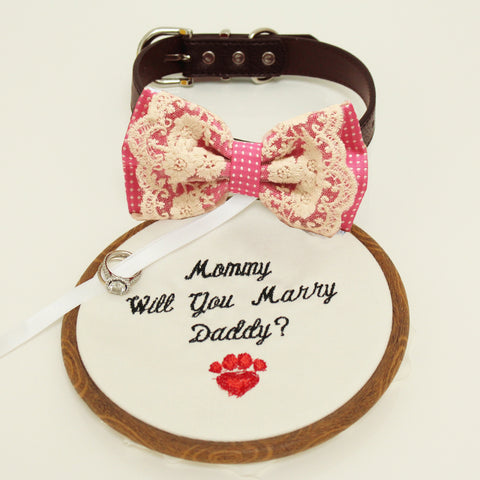 Hot pink lace bow tie dog collar, lace Bow and handmade Embroidery sign attached to leather collar, will you marry me, Proposal Marry me , Wedding dog collar