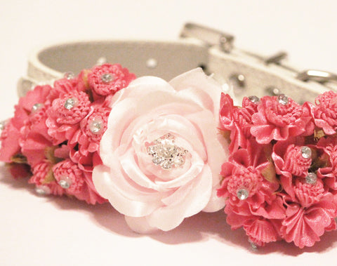 Hot Pink Wedding Floral Dog Collars,Pink flowers with Rhinestone, High Quality leather Dog Collar