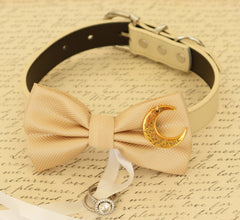 Champagne Dog Bow Tie, Dog ring bearer, Wedding accessory, Proposal Dog collar, Charm,  I love you to the moon and back,dog collar, Bow tie - LA Dog Store  - 1