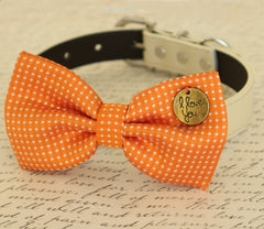 Orange Dog Bow tie, Bow attached to dog collar,I love you, Dog birthday gift, Pet wedding accessory, Polka dots bow, dog lovers, Proposal - LA Dog Store  - 1