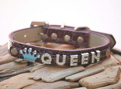 Purple beaded Leather dog collar, Personalized Rhinestone Name and a charm