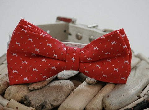 Red Dog Bow Tie collar, Red and White Wedding pet Bow Tie