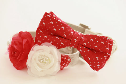 Red Wedding Dog Collars - Bridesmaid & Best Man - Wedding Accessories for Dogs-Chic Wedding Dog Collars , Wedding dog collar