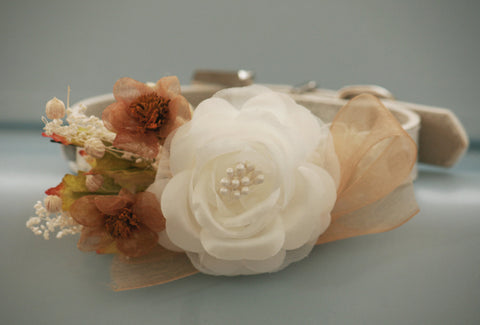 White and Gold flowers, Floral Dog Collar, Unique Wedding Dog Collar