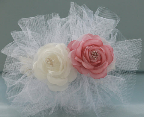 White Leather Collar with White and Pink flower, Floral Wedding accessory