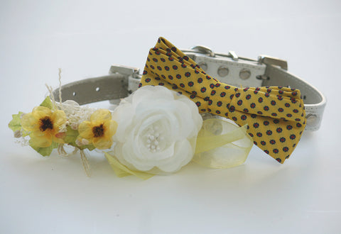Yellow Wedding Dog Collars - Bridesmaid & Best Man - Two Chic Wedding Dog Collars, Yellow dog bowtie