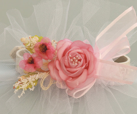 Pink Wedding Dog Collar with Pink flowers, Wedding idea