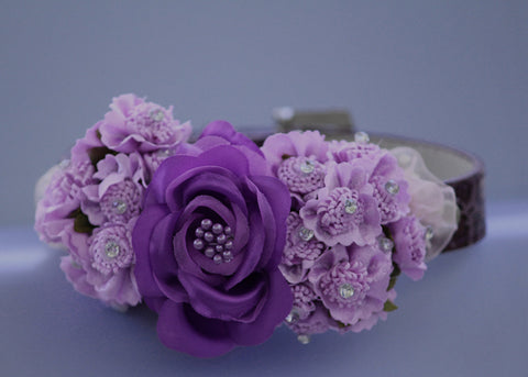 Purple wedding dog collar, dark and light purple flowers , Cute Floral Dog Collar, unique dog collar for your wedding