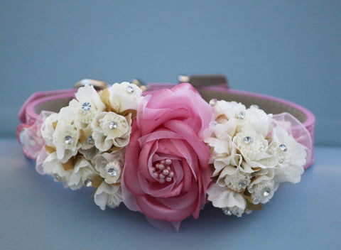 Pink Floral wedding dog collar, beach wedding, floral pink pet wedding, summer