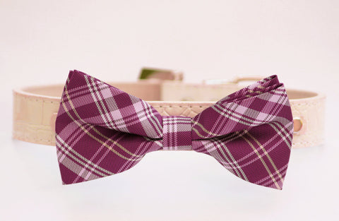 Plaid magenta dog bow tie with high quality leather collar, wedding dog accessories