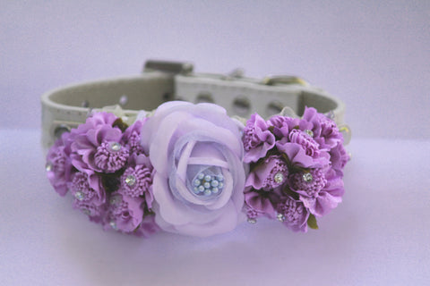 Lavender Floral dog collar, Handmade Floral Dog Collar, Lavender Wedding accessory, Purple Floral dog collar, X Large dog collar