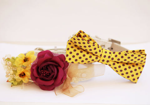 Burgundy and Yellow Dog Collar, Bridesmaid & Best Man, Wedding pet gifts , Wedding dog collar