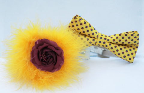Bridesmaid & Best Man, Burgundy Flower with Yellow feather, floral wedding