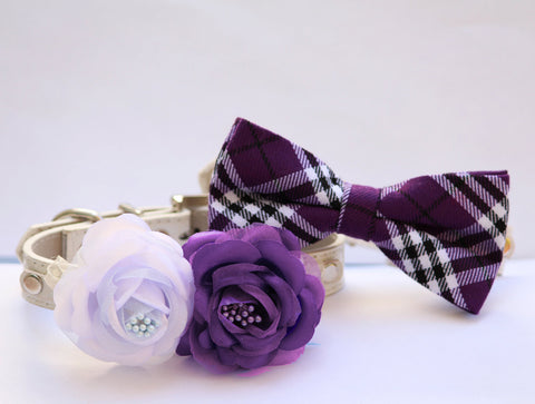 Puprle Dog Collars - Bridesmaid & Best Man - Chic Light lavender and Dark Purple Collars , Wedding dog collar