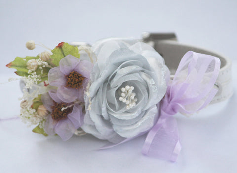 Silver Purple Wedding dog Collar, Floral Wedding, silver wedding