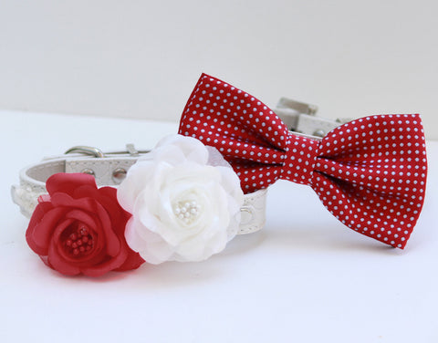 Red White wedding 2 dog collars, Bow tie and Floral collar, pet wedding accessory