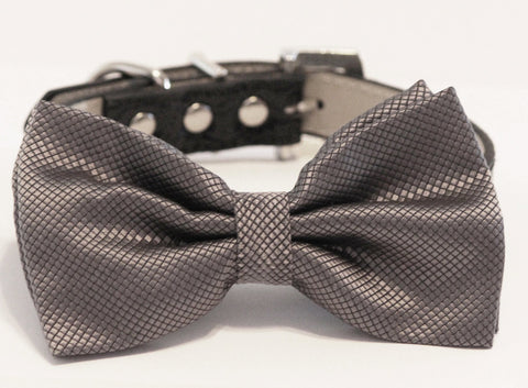 Charcoal Dog Bow Tie, Pet wedding, Dog Lovers, Charcoal Wedding , Wedding dog collar