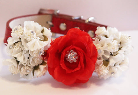 Red floral Dog Collar. Red and White Flowes with Rhinestone -High Quality Red Leather Collar,  Wedding Dog Accessory, Christmas Gift