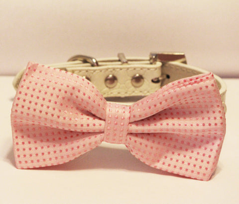 Pink Polka dost dog bow tie, high quality white leather collar, , Cute Dog Bowtie, Wedding Dog Collar