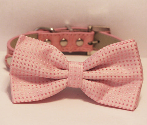 Pink Dog Bow Tie attached to Pink leather collar, Rhinestone Buckle, Cute,Love Pink, Pet Birthday Accessory , Wedding dog collar